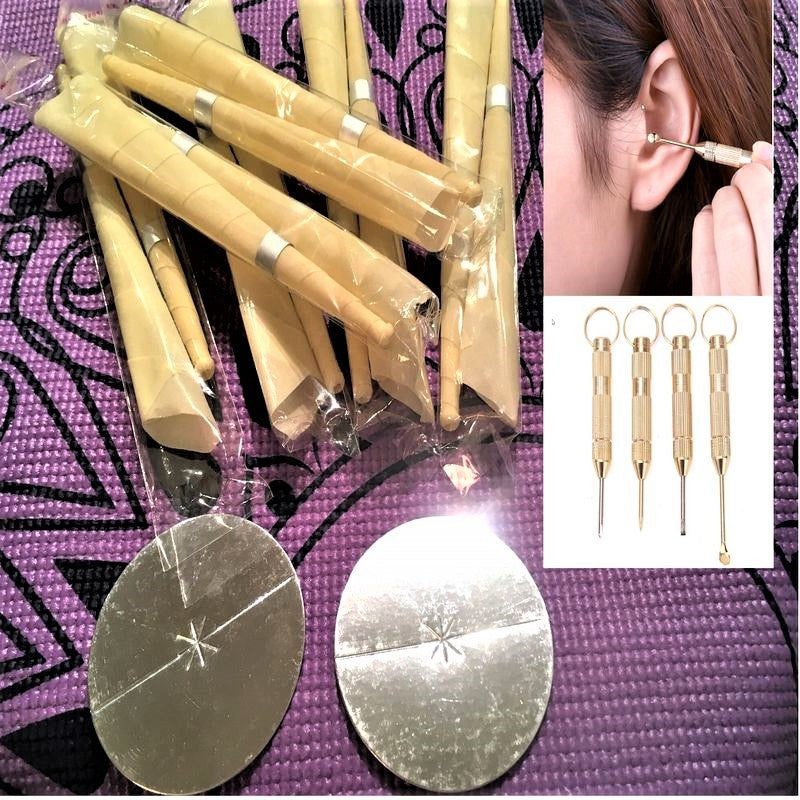 100% Beeswax Candles Cleaning Tools For Ear Wax Natural Hollow Blend Complete Kit