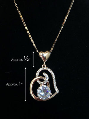 Womens Love Heart Chain Necklace Crystal 18K Rose Gold Plated Swarovski Fashion