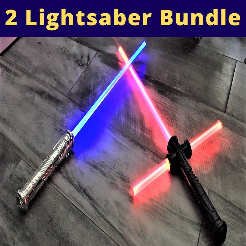 Kylo Ren Lightsaber Cross Guard VS JEDI Saber Sword Force FX - BUNDLE