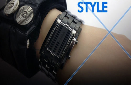 Futuristic Luxury Stainless Steel Mens LED Watch