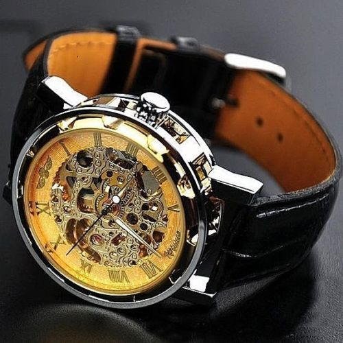 Classy Men's Gold Dial Skeleton Black Leather Mechanical Sport Army Wrist Watch
