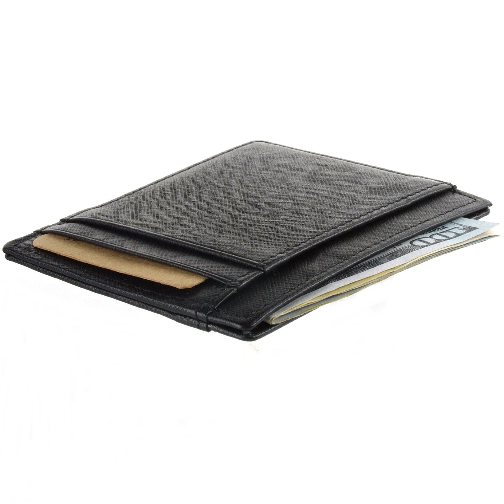 RFID Blocking Minimalist Front Pocket Wallet Card Case - Genuine Leather