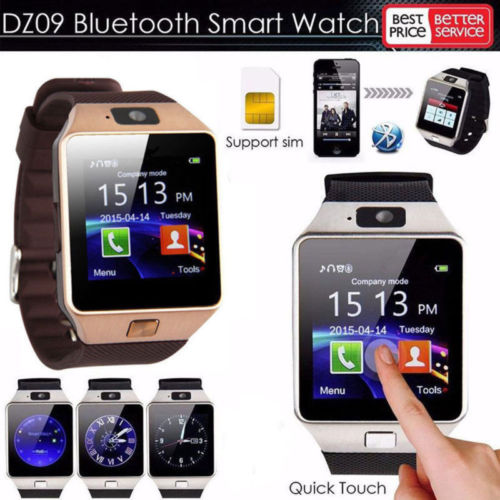 Gold Bluetooth Smart Watch GSM SIM for iPhone Samsung lg Android Phone Mate - UNISEX