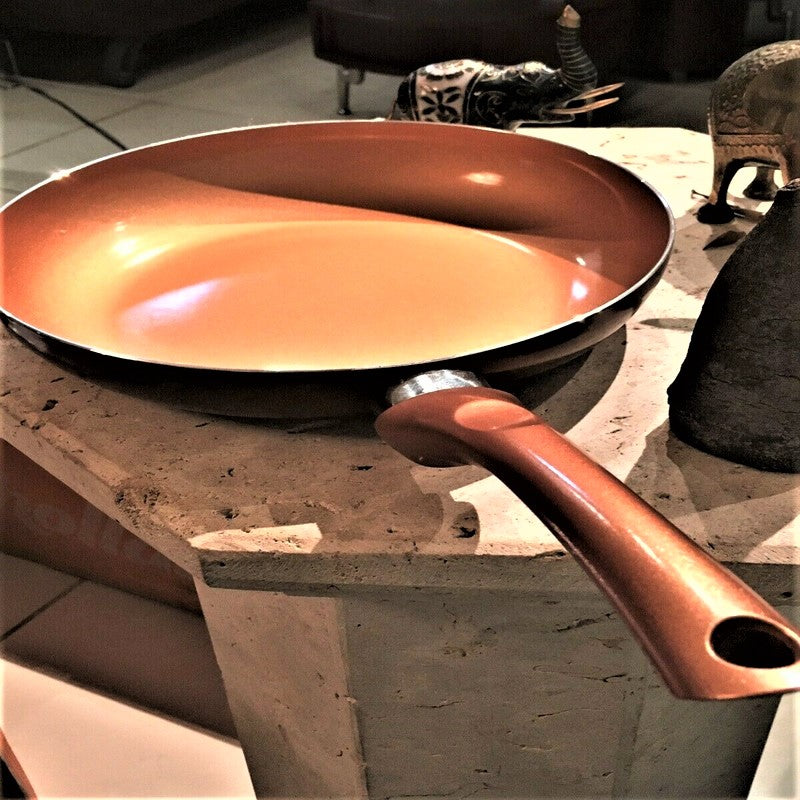 Copper Fry Pan Nonstick Induction Skillet Healthy Cookware 9.5