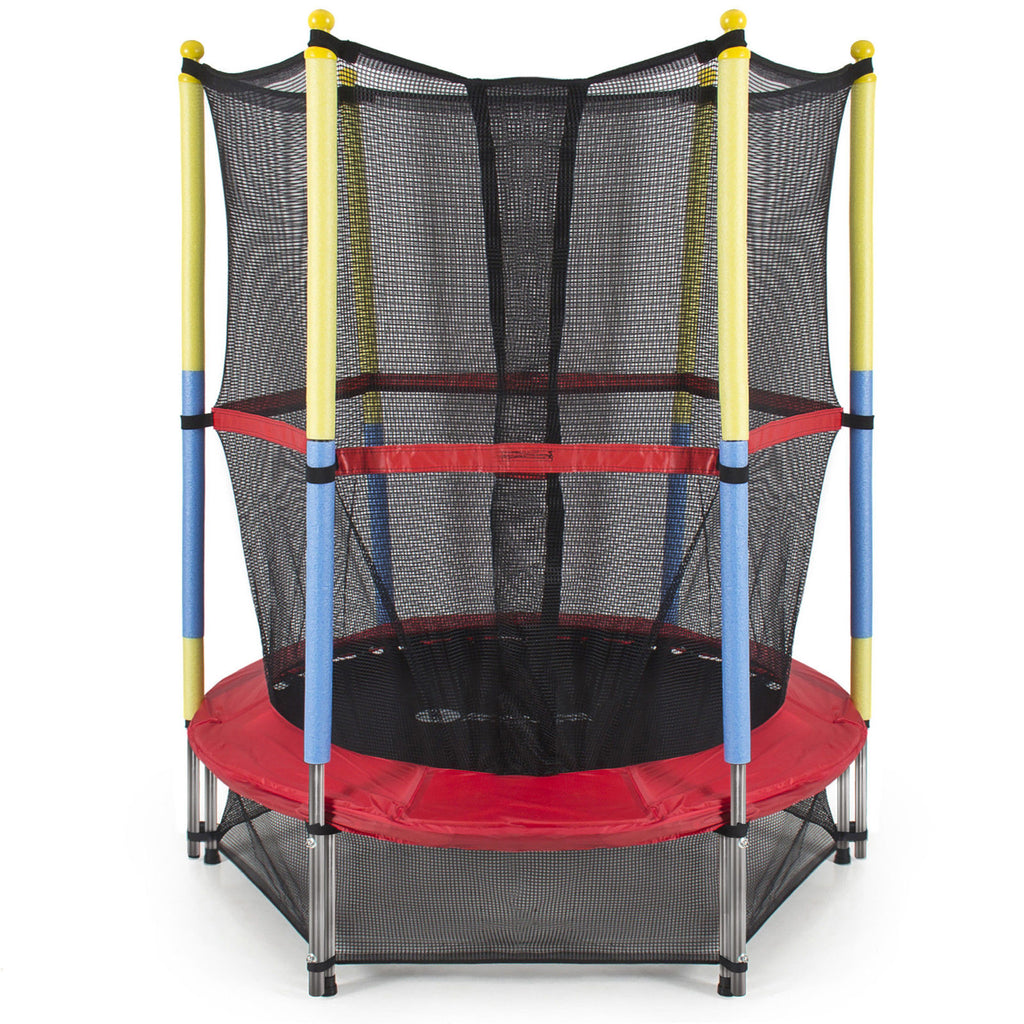 "55"" Round Kids Mini Trampoline w/ Enclosure Net Pad Rebounder Outdoor Exercise"