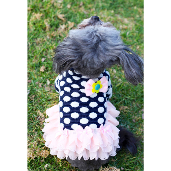 Matching Dog and Owner - 50s Rockabilly Style White Polka-Dot Dog Dress for teacup to medium size Dogs