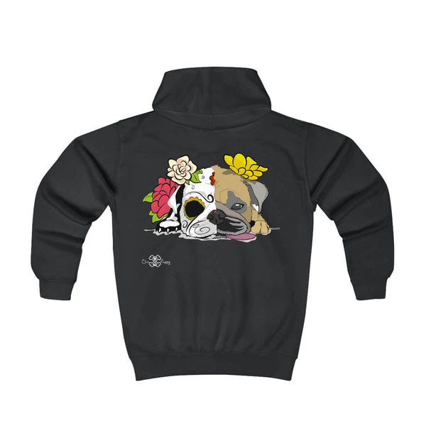 Matching Dog and Owner - Dia De Los Muertos Pug - Youth Hoodies - Youth