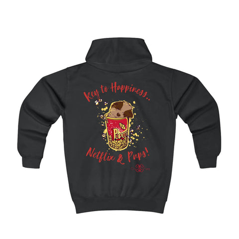 Matching Dog and Owner - Key to Happiness: Netflik & Pups! - Youth Hoodies - Youth