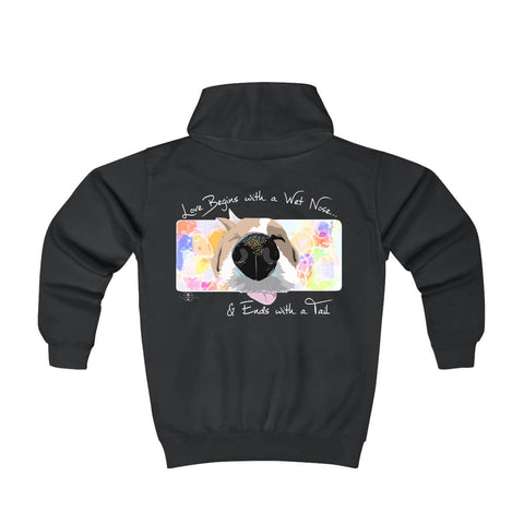 Matching Dog and Owner - Love Begins with a Wet Nose - Youth Hoodies - Youth
