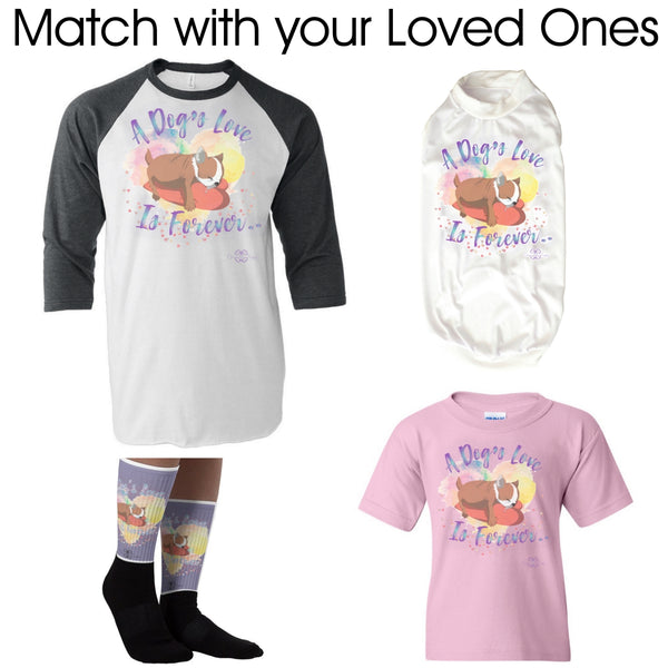 Matching Dog and Owner - A Dog's Love is Forever Raglan - Men
