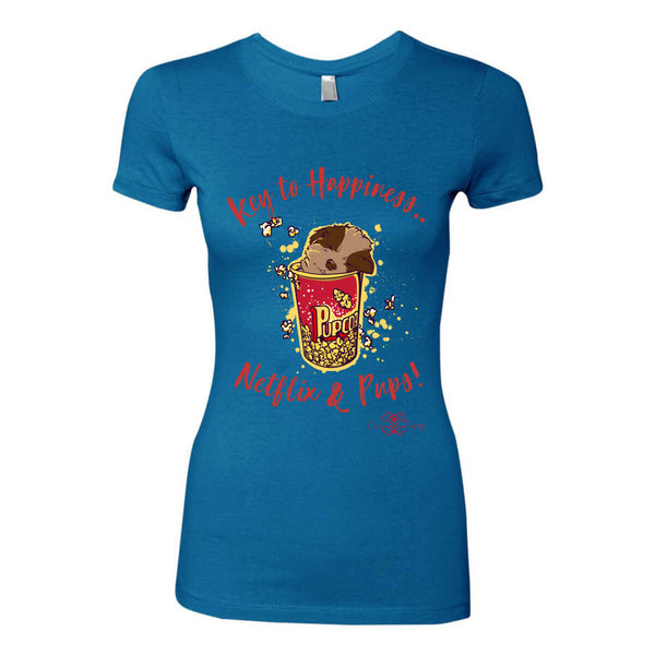 Matching Dog and Owner - Key to Happiness: Netflik & Pups! - Women Shirts - Women