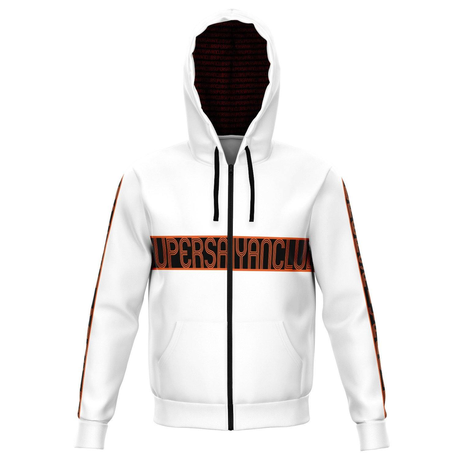 White SUPERSAIYANCLUB Zip Up Hoodie - PlanetGoku