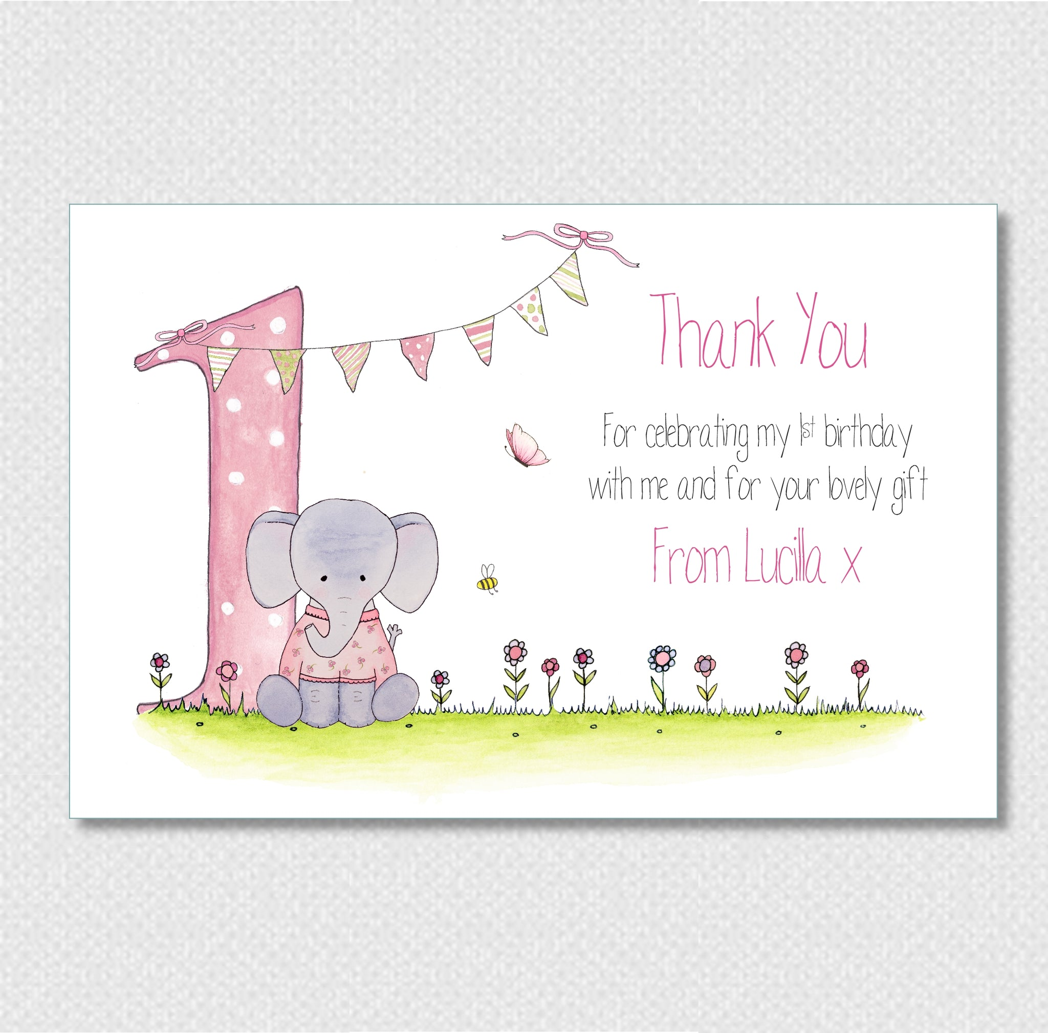 Personalised 1st Birthday Thank You Cards