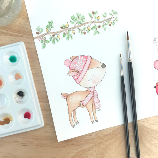 Personalised Girls First Christmas Card - Deer