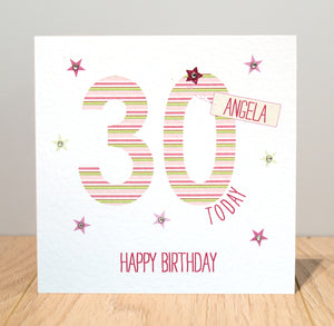 Personalised Birthday Card - Pink - 18th, 21st, 40th, 50th, 60th, 70th, 80th
