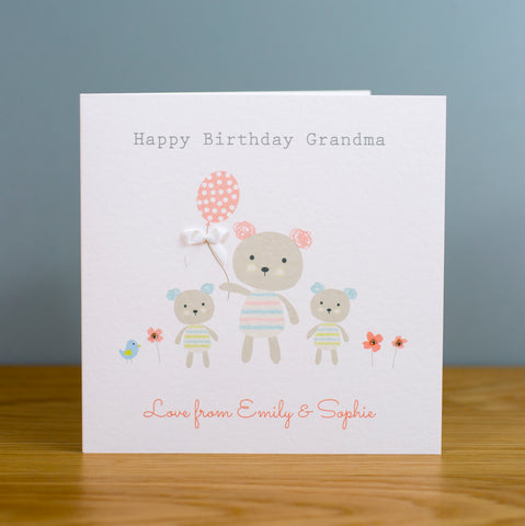 Handmade Personalised Birthday Card - Nannie, Grandma, Granny, Mum