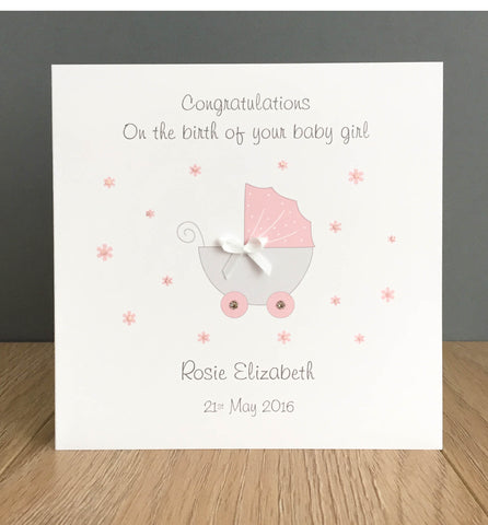 Personalised New Baby Card – Pram