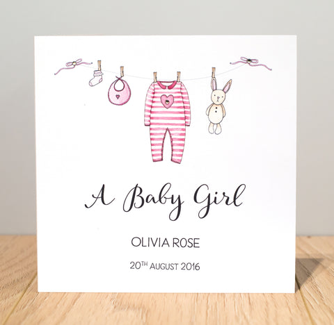 Personalised Handmade New Baby Girl Card – Washing Line