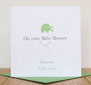 Handmade Personalised Baby Shower Card   Glitter Elephant