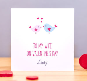 Personalised Valentine's Card – Love Birds