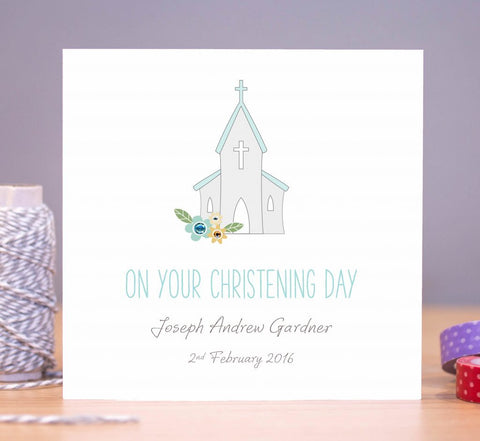 Personalised Boys Christening Card – Church