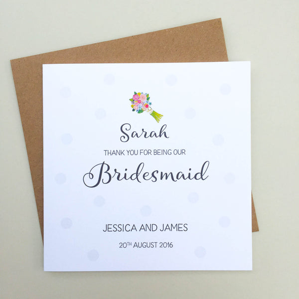 Personalised Handmade Bridesmaid Thank You Card - Maid of Honour, Flower Girls