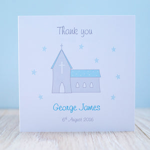 Handmade Personalised Boys Christening Thank You Card - Packs of 10 Stars