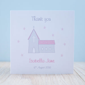 Handmade Personalised Girls Christening Thank You Card - Packs of 10 Stars
