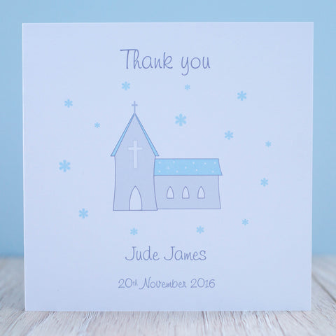 Handmade Personalised Boys Christening Thank You Card Packs of 10