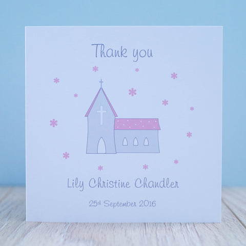 Handmade Personalised Christening Thank You Card Packs of 10 - Pink Flowers
