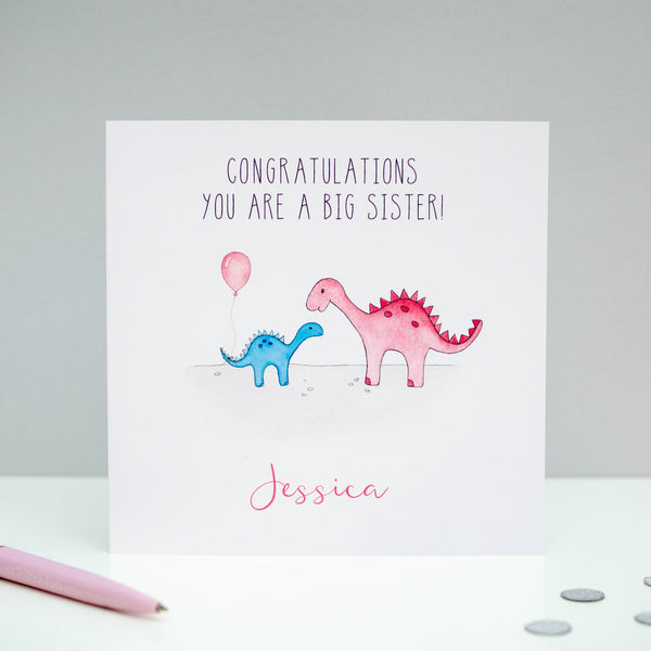 Personalised New Big Sister Card - Dinosaur