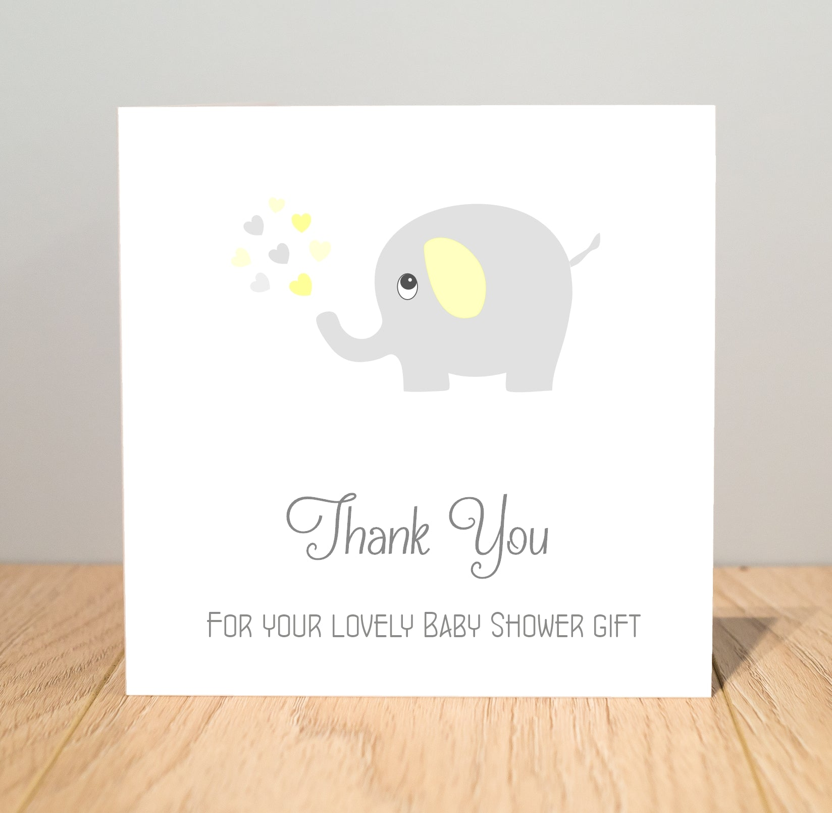 Personalised Baby Shower Thank You Cards - Yellow and Grey