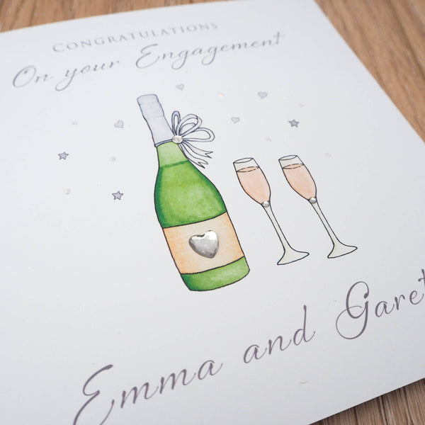Handmade Personalised Engagement Card - Wine Bottle