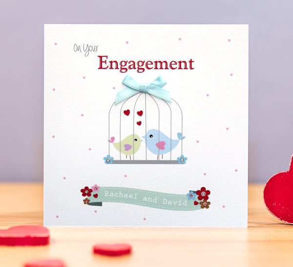 Handmade Personalised Engagement Card - Love Birds Cage