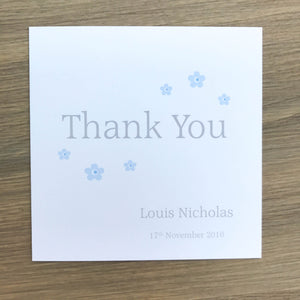 Personalised Christening Thank You Cards - Packs of 10 Blue
