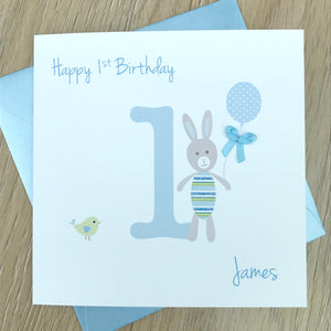 Personalised Birthday Card, Bunny Rabbit, 1st, 2nd, 3rd, 4th
