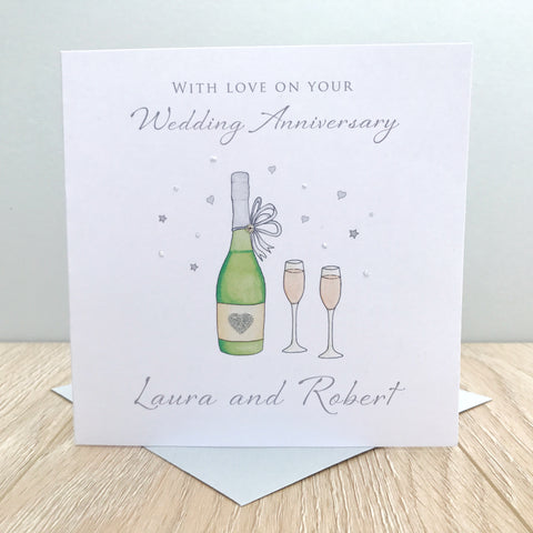Handmade Personalised Wedding Anniversary Card - Wine Bottle