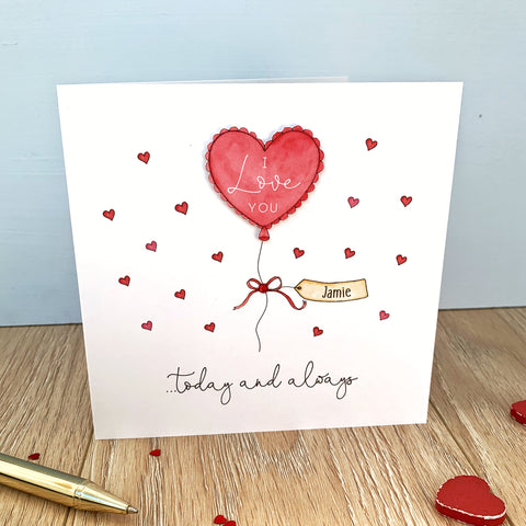Personalised Valentine's Day Card - Heart Balloon