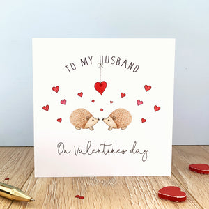 Personalised Valentine's Day Card - Hedgehogs