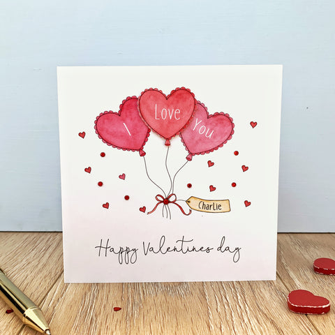 Personalised Valentine's Day Card - I Love You Balloons