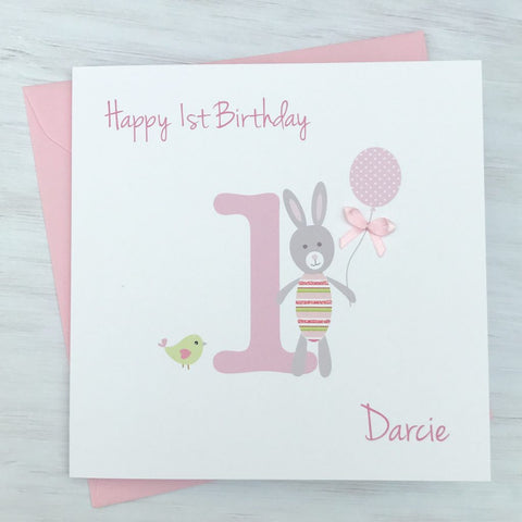 Personalised Bunny Rabbit Age Birthday Card