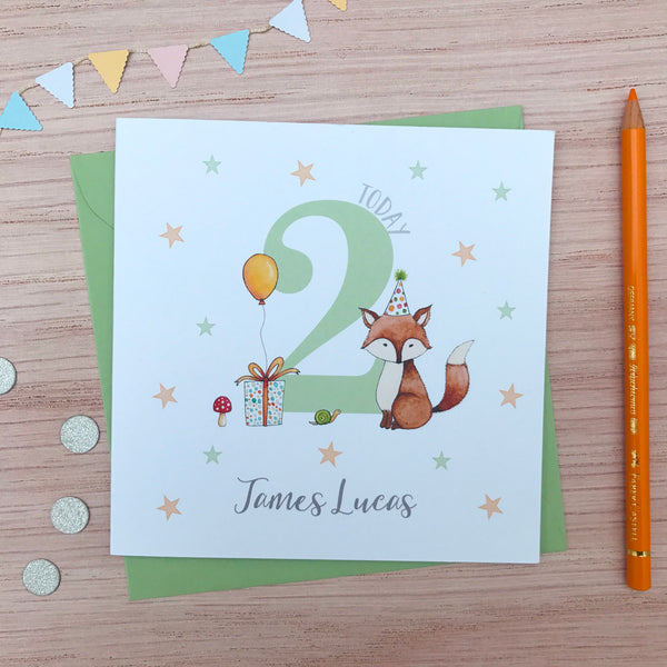 Personalised Handmade Children's Birthday Card – Fox. 2nd, 3rd, 4th, 5th