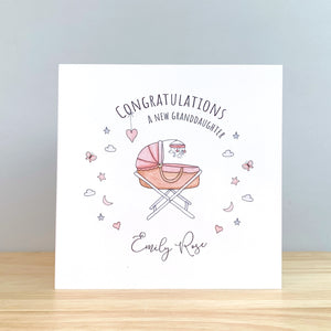 Personalised New Grandparents Card - New Granddaughter Card