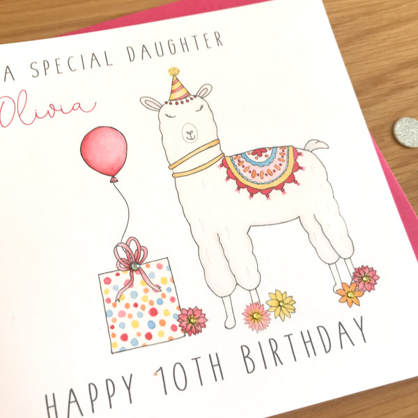 Personalised Llama Birthday Card - Any Age, Daughter, Niece, Sister