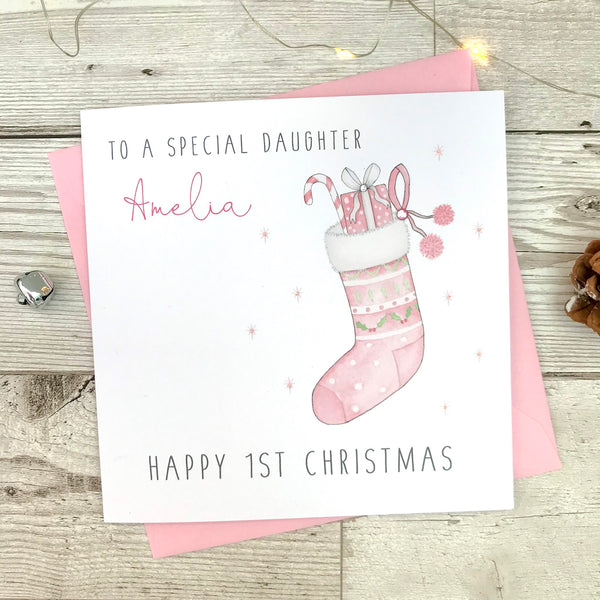 Personalised Girls First Christmas Card - 1st Christmas Card