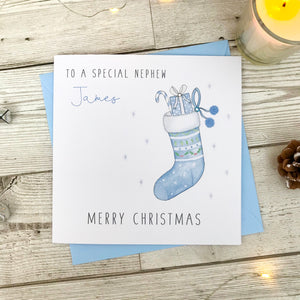 Personalised Boys Christmas Card - Blue Stocking