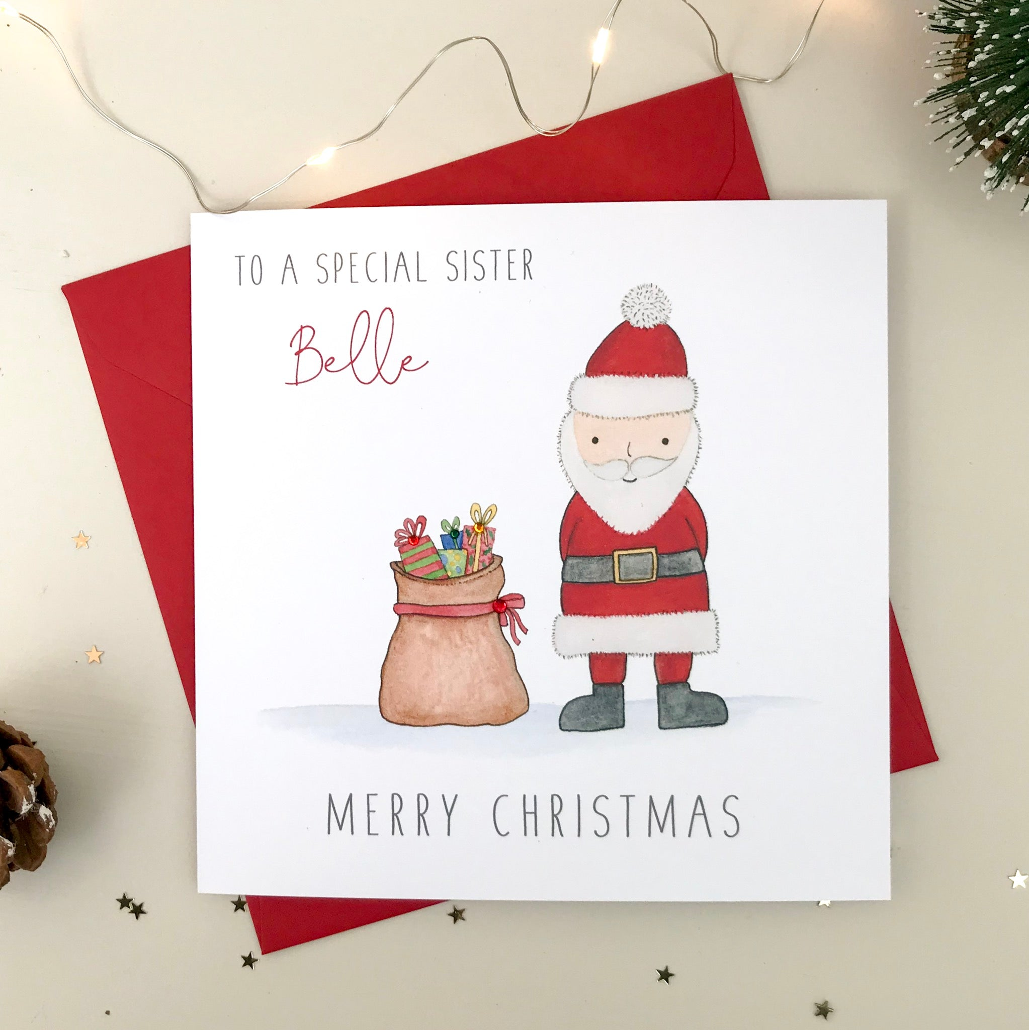 Personalised Christmas Card - Santa and his sack