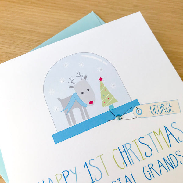 Personalised Boys Christmas Card - Snow globe