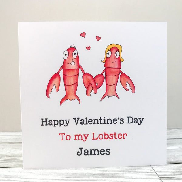 Personalised Lobster Valentine's Day Card