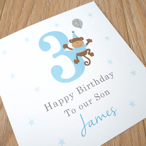 Personalised Boys Birthday Card – Monkey 1st, 2nd, 3rd, 4th, 5th